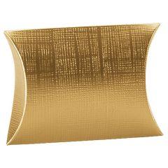 Presentkartong planoval linnepräglad guld