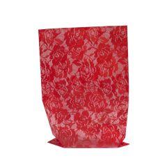 Transparent presentpåse Chantilly röd
