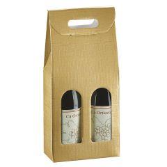 Presentkartong för flaskor linnepräglat guld