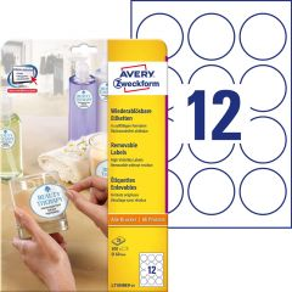 Avery avtagbar etikett rund